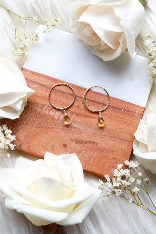 Citrine Baby Hoop Earrings {Gold or Silver}