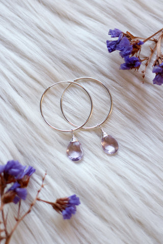 Pink Amethyst Dew Drop Silver Hoop Earrings