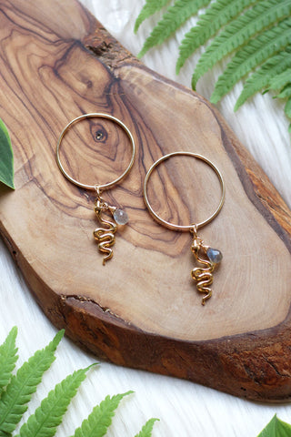 Kundalini Rising Gold Hoop Earrings