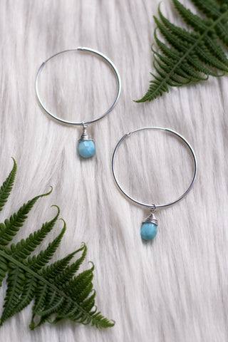 Larimar Dew Drop Silver Hoop Earrings
