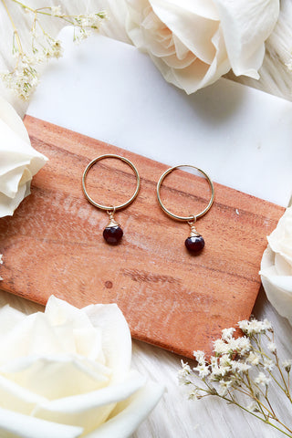 Garnet Baby Hoop Earrings {Gold or Silver}