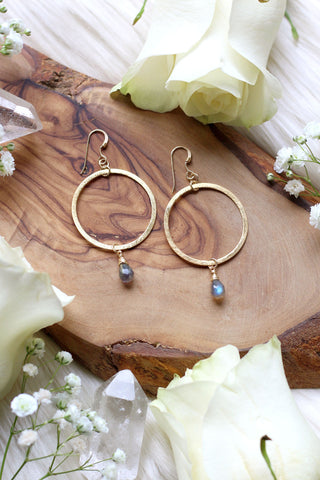 Amazonite Eclipse Hoops Silver Earrings