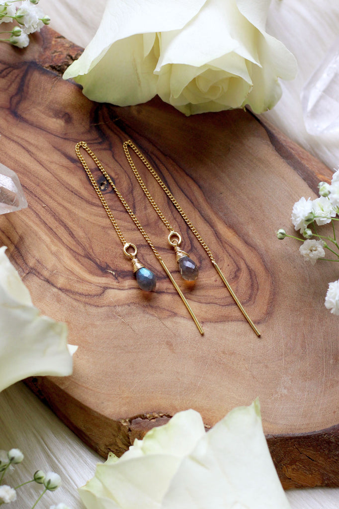 Labradorite Ear Threaders Earrings {Gold or Silver}