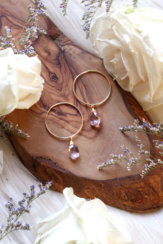 Diamond Eye Gold Hoop Earrings