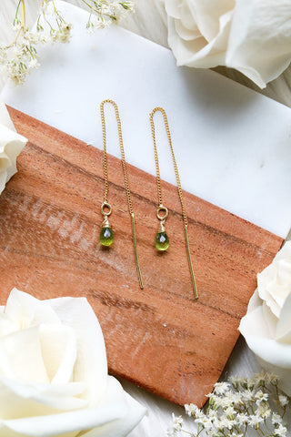 Peridot Ear Threaders Earrings {Gold or Silver}
