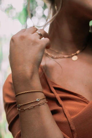 Cultivate ~ Wheat Chain Solo Gold Bracelet