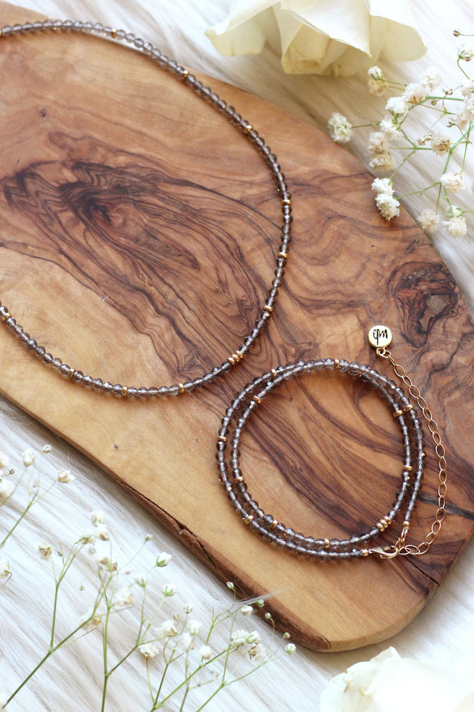Cosmic Smoky Quartz Choker/Wrap Bracelet {Gold}