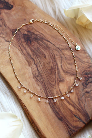 Herkimer Diamond Drip Gold Choker