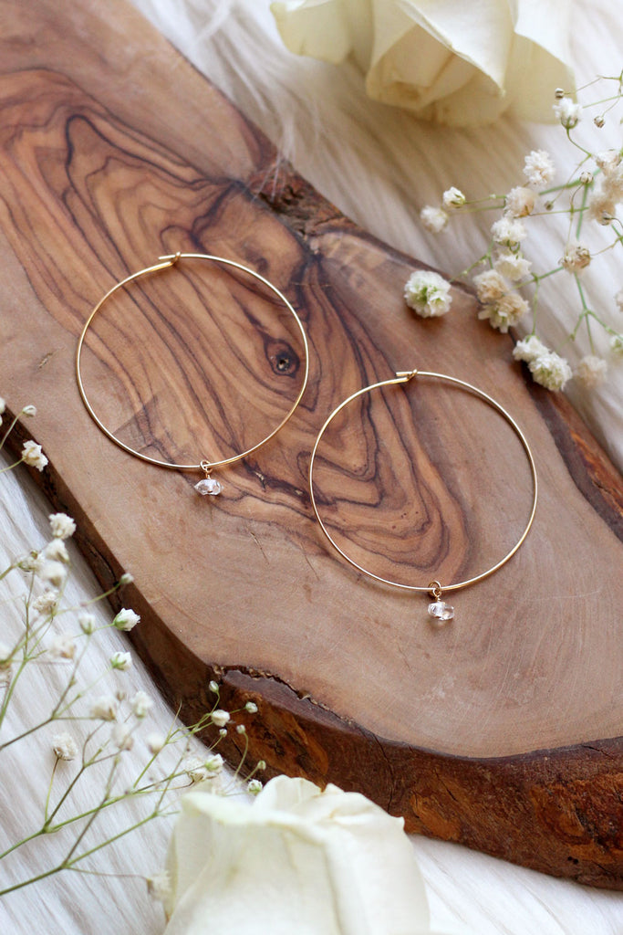 Herkimer Diamond Gold Hoops Earrings