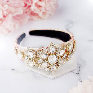 Gold and pink statement hairband headpiece for wedding guest and occassion wear