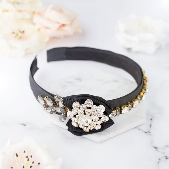 Black hairband headpiece for wedding and occassion wear