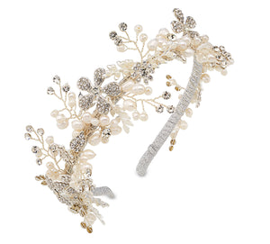 Silver crown hairpiece headband for wedding bridal guest and occassion wear