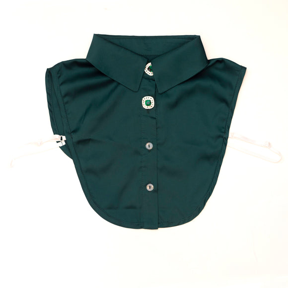 Green silky shirt collar bib