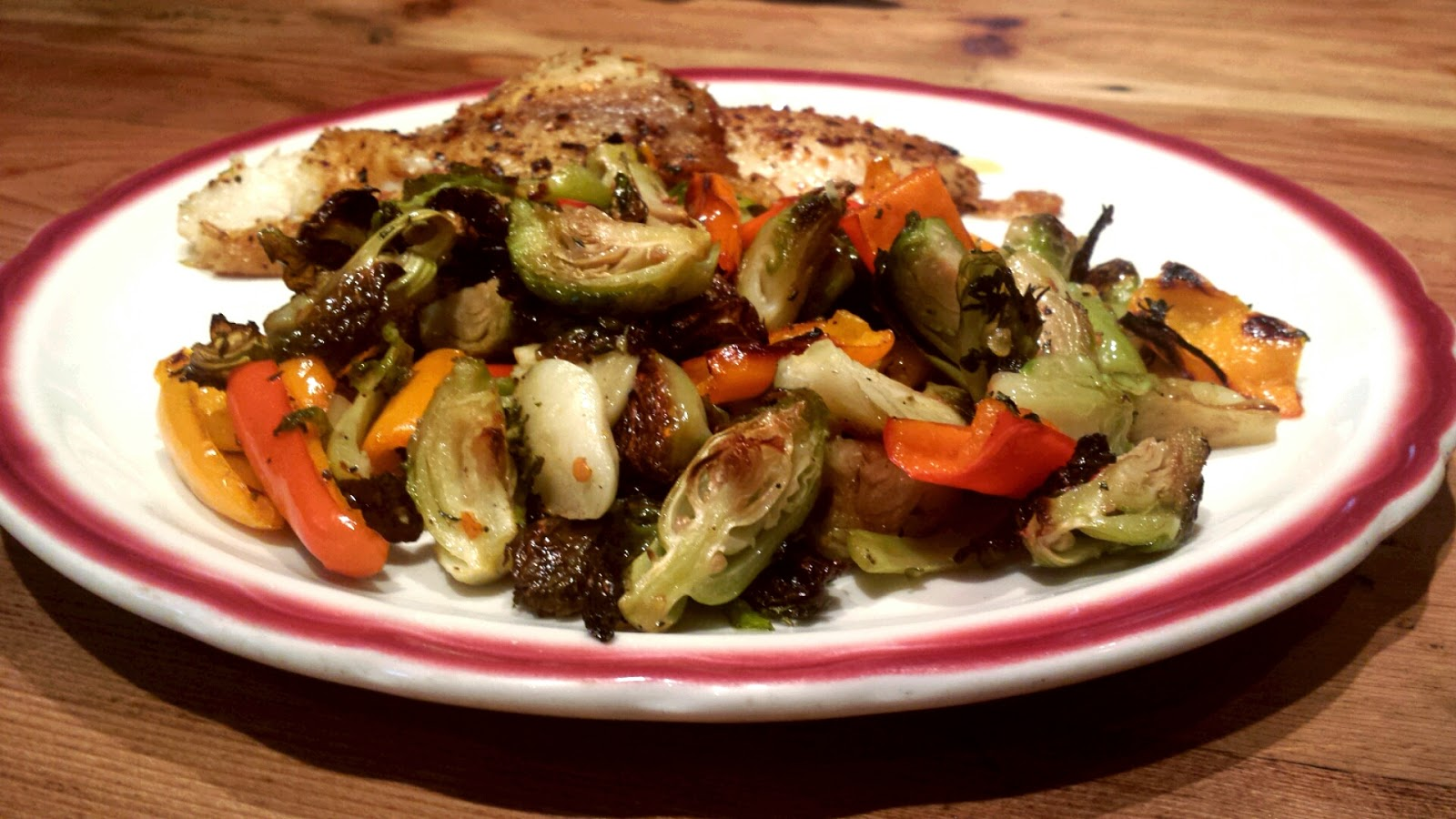 Roasted Brussels Sprouts with Sweet Peppers