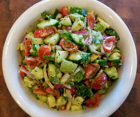 Roasted Garlic and Avocado Salad