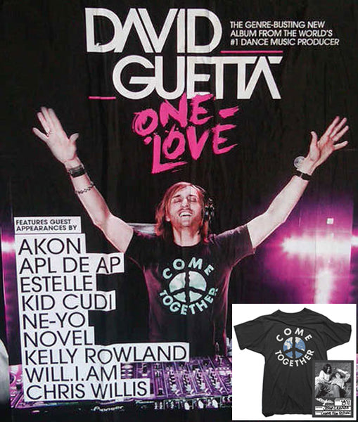 David Guetta One Love Come Together John Lennon Tee Shirt by Worn Free