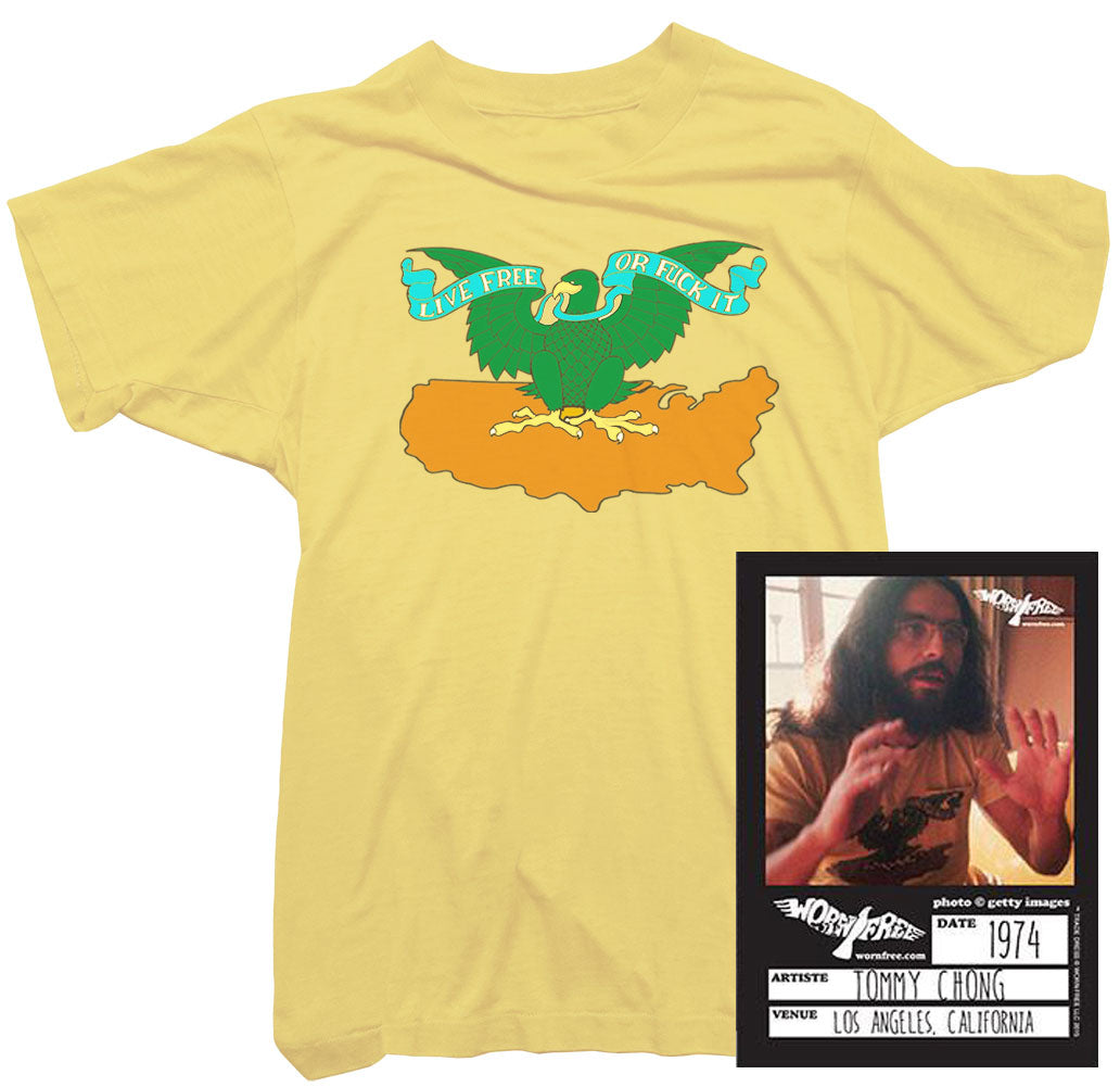 Cheech & Chong T-Shirt - Live Free or Fuck It Tee worn by Tommy Chong