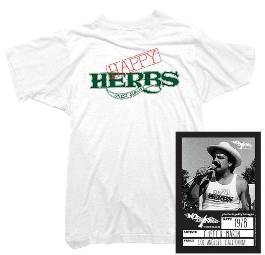 Cheech & Chong T-Shirt - Happy Herbs Tee worn by Cheech Marin