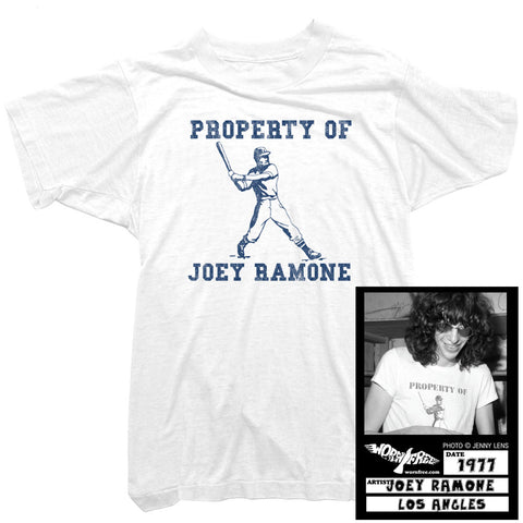 Joey Ramone - Property of baseball t-shirt worn by Joey Ramone
