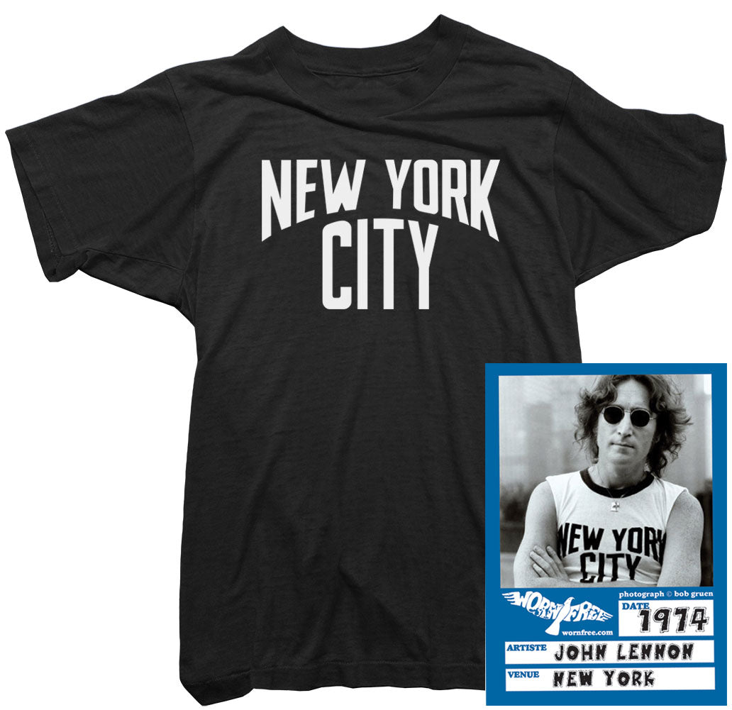 John Lennon T Shirt New York Tee Worn By John Lennon Vintage T Shirt Worn Free