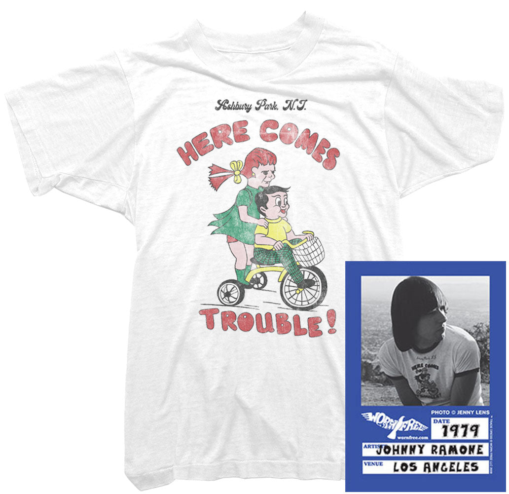 Johnny Ramone T-Shirt - Here Comes Trouble Tee worn by Johnny Ramone