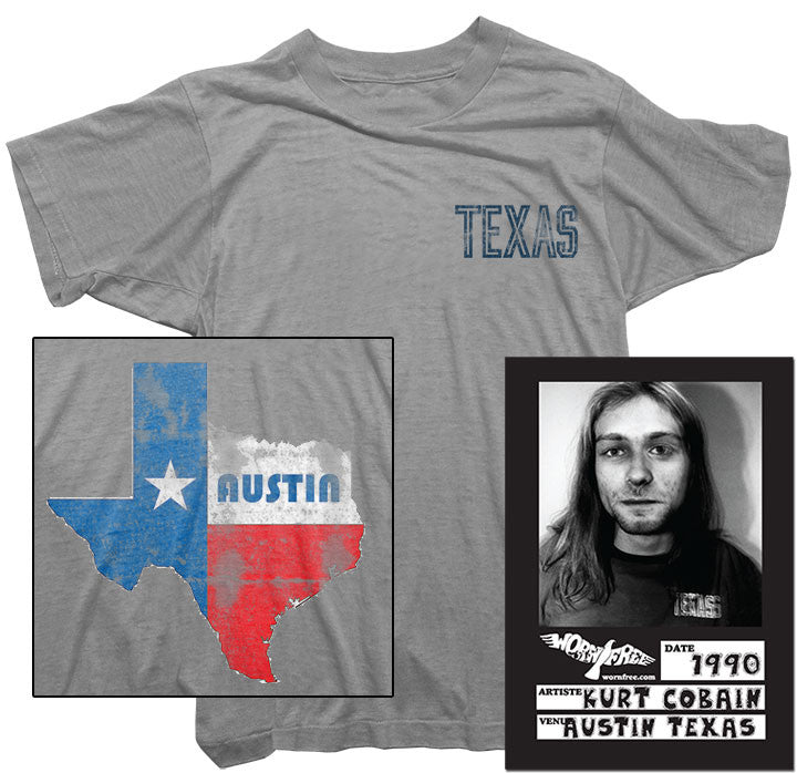 Kurt cobain t shirt texas tee worn by kurt cobain worn free for Custom t shirts austin texas
