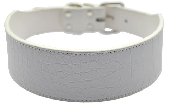 2 Inch Wide Croc Leather Dog Collar