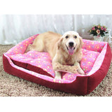 3 Colors Paw Print Dog Beds Nest Waterproof Bottom Fleece For Big Dogs XXS-XL