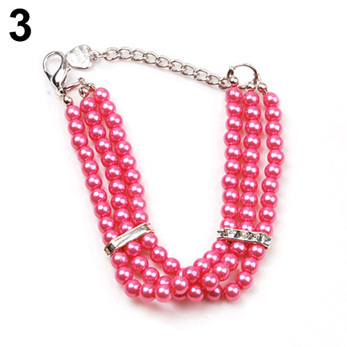 Fashion Three Rows Faux Pearl Collar Short Necklace