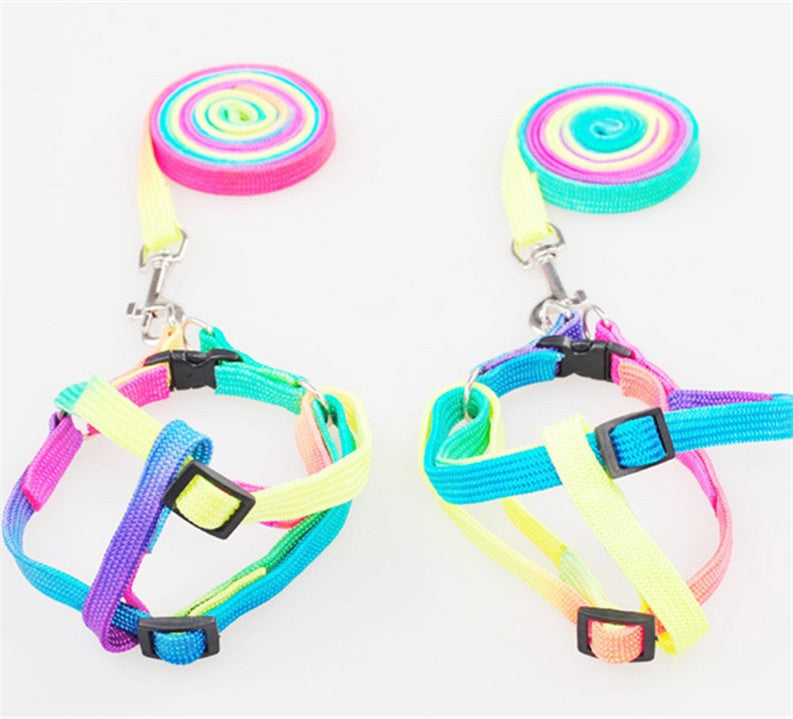 Rainbow Colored Dog Harness and Leash