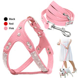 Soft Suede Leather Dog Harness and Leash Set Rhinestone Puppy Vest With Crystal Bone Pendant For Small Medium Pets Chihuahua