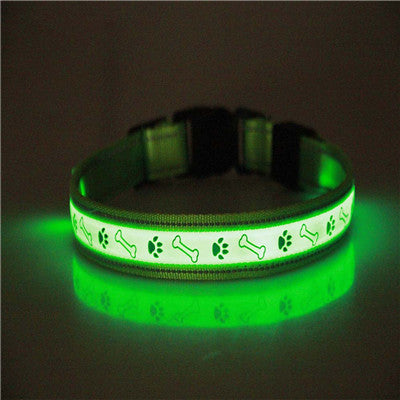 Glowing dog collar Adjustable Luminous Safety Flashing Glow  With Charging Cable