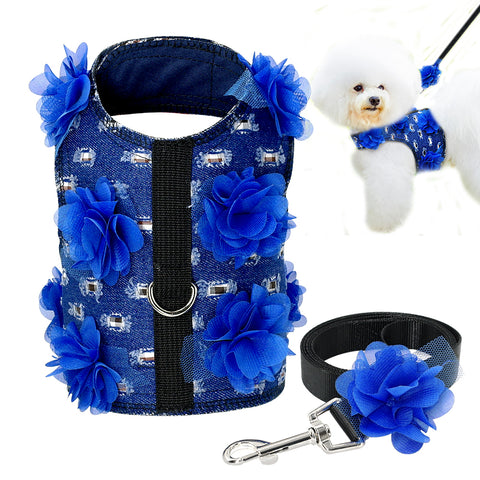 Didog Small Dog Harness and Leash set  With Flower For Chihuahua Yorkies S M L