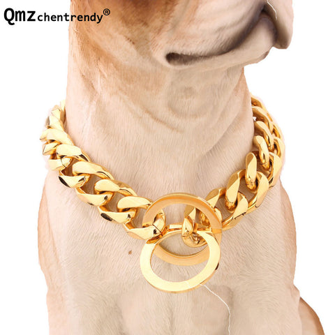 15mm 12-34 inch Gold Tone Double Curb Cuban Rombo Link Stainless Steel Dog Chain
