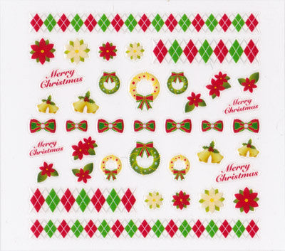 Pieadra Nail Sticker Red & Green Christmas 1sheet