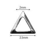 Pieadra Studs Triangle Frame Silver 2mm 50pc