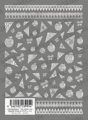 TSUMEKIRA Zentangle Sticker white