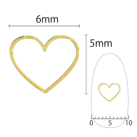 SHAREYDVA Soft Heart 6mm Gold 6PC