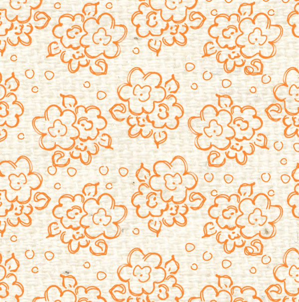 ***OPDF8  Orange Poppy Doodle Flowers Paper  8 1/2