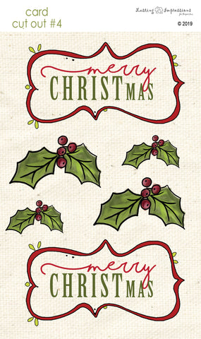 ********CCO4 - Merry Christmas with Holly Cut Out #4