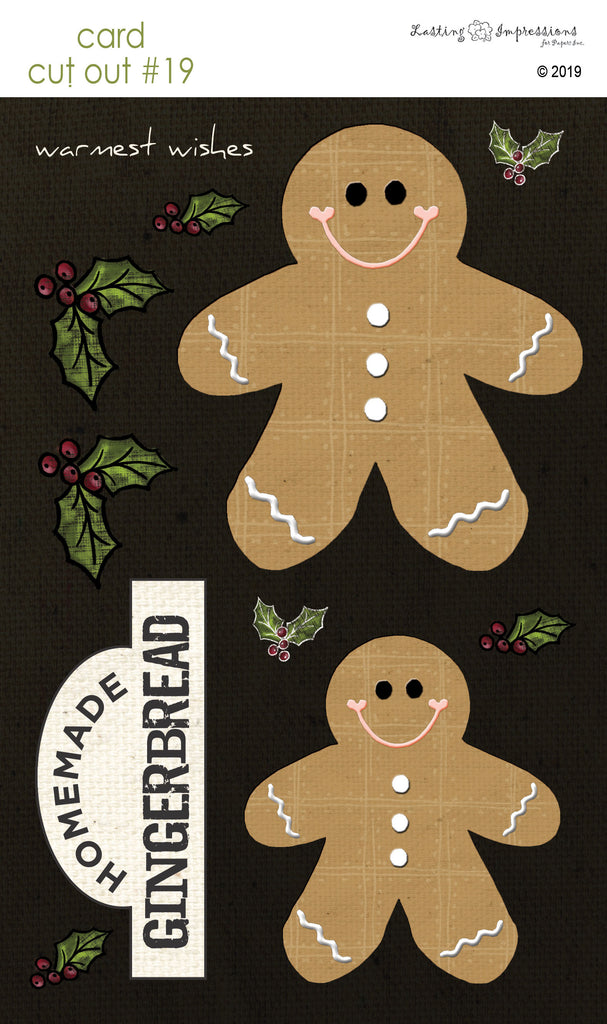 **CCO19 - Card Cut Out #19 - Gingerbread Men on Black Canvas