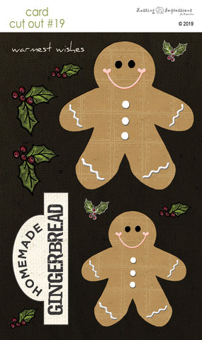 ********CCO19 - Gingerbread Men on Black Canvas Cut Out #19