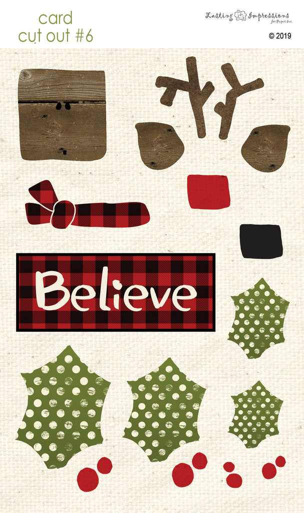 **CCO06 - Card Cut Out #6 - Reindeer on Natural Canvas