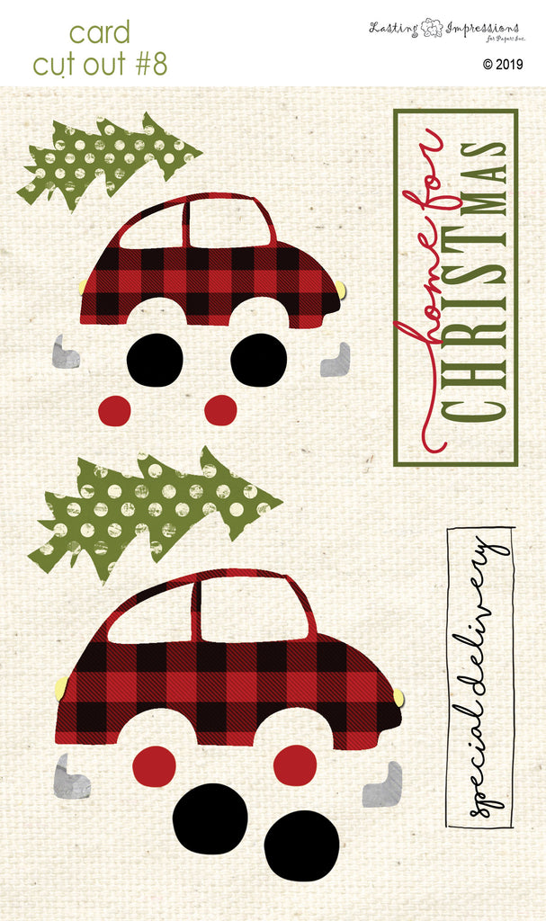 ********CCO8 - Christmas Tree Shopping on Natural Canvas Cut Out #8