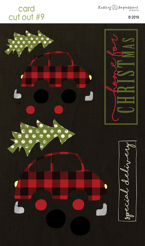 **CCO09 - Card Cut Out #9 - Christmas Tree Shopping on Black Canvas