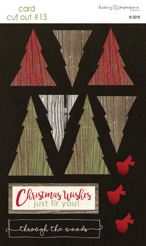 ********CCO13 - Fir Trees on Black Canvas Cut Out #13