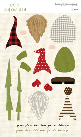 **CCO14 - Card Cut Out #14 - Gnomes on Natural Canvas