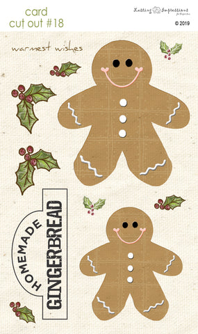 **CCO18 - Card Cut Out #18 - Gingerbread Men on Natural Canvas
