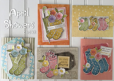 ********April Showers Handmade Card Kit (makes 2 of each card)