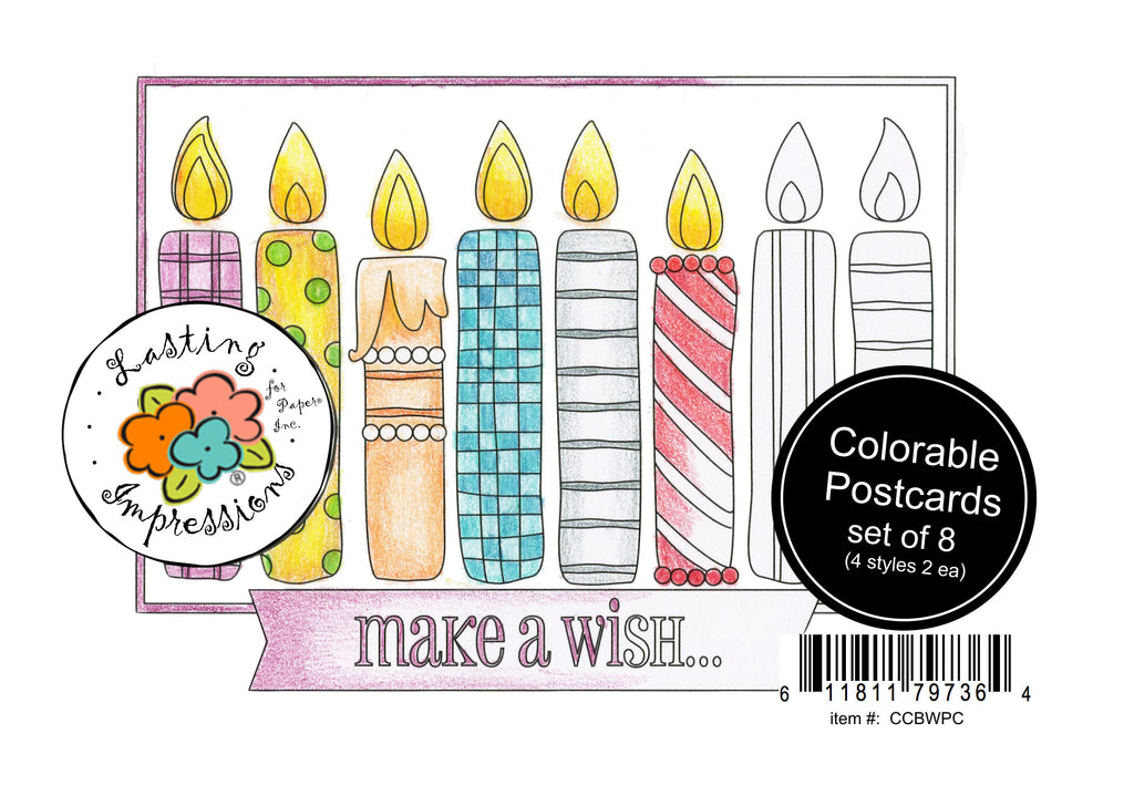 Birthday Wishes - Postcards for Coloring